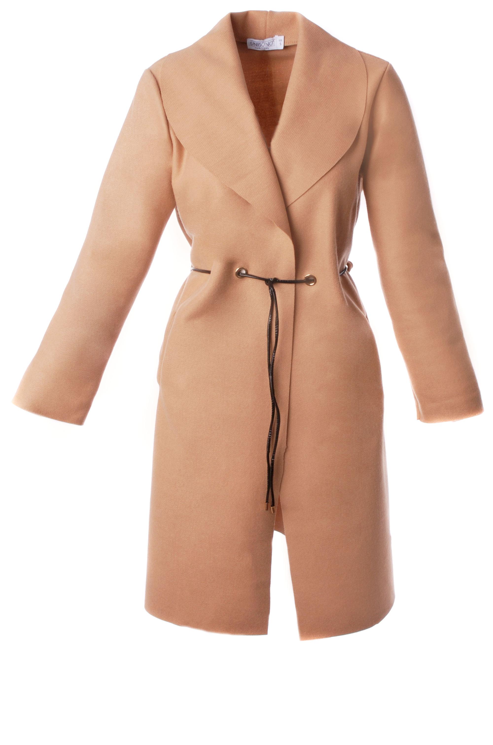 Płaszcz materiałowy - 65-6168 CAMEL - Unisono