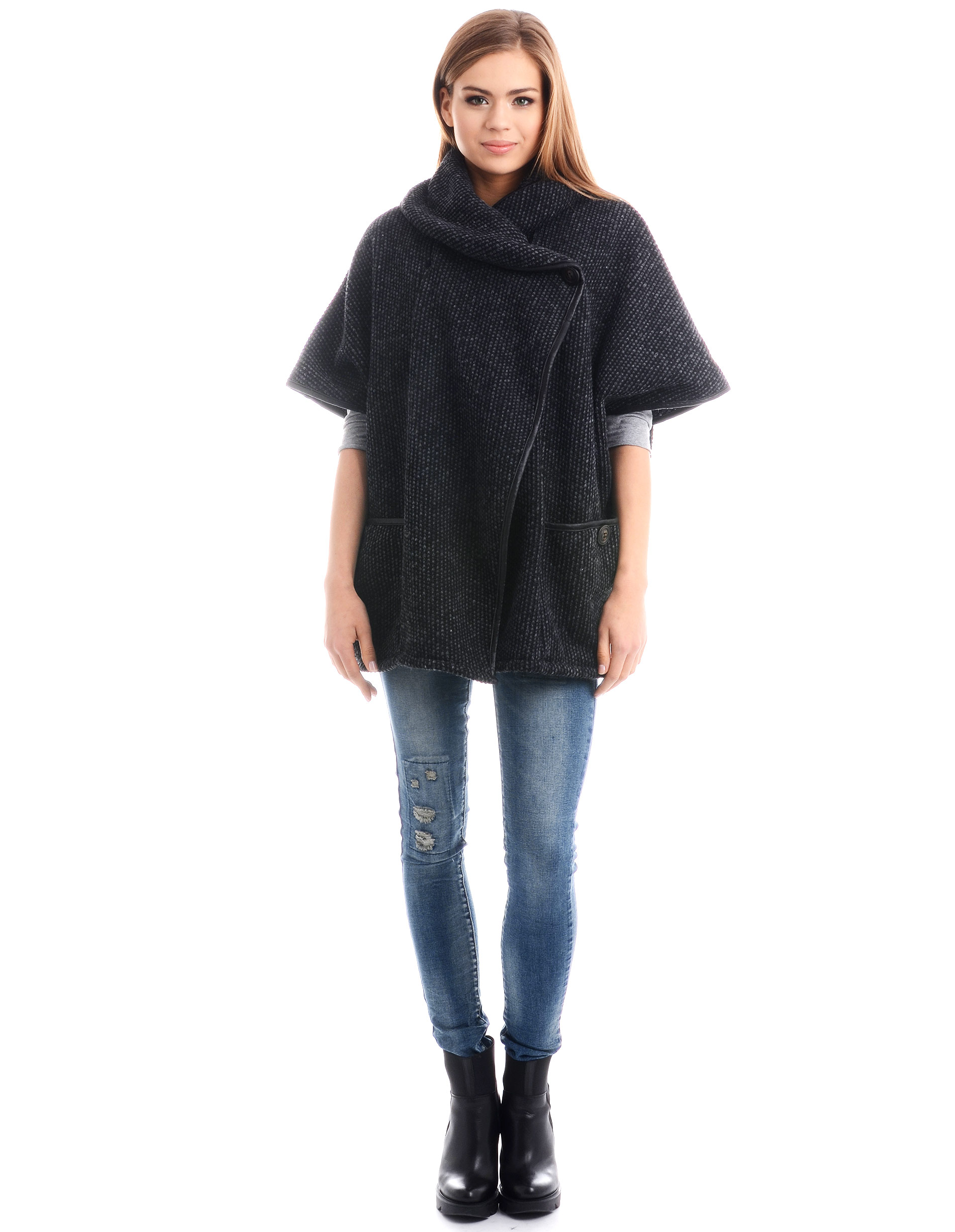 Płaszcz materiałowy - 4674A NERO - Unisono
