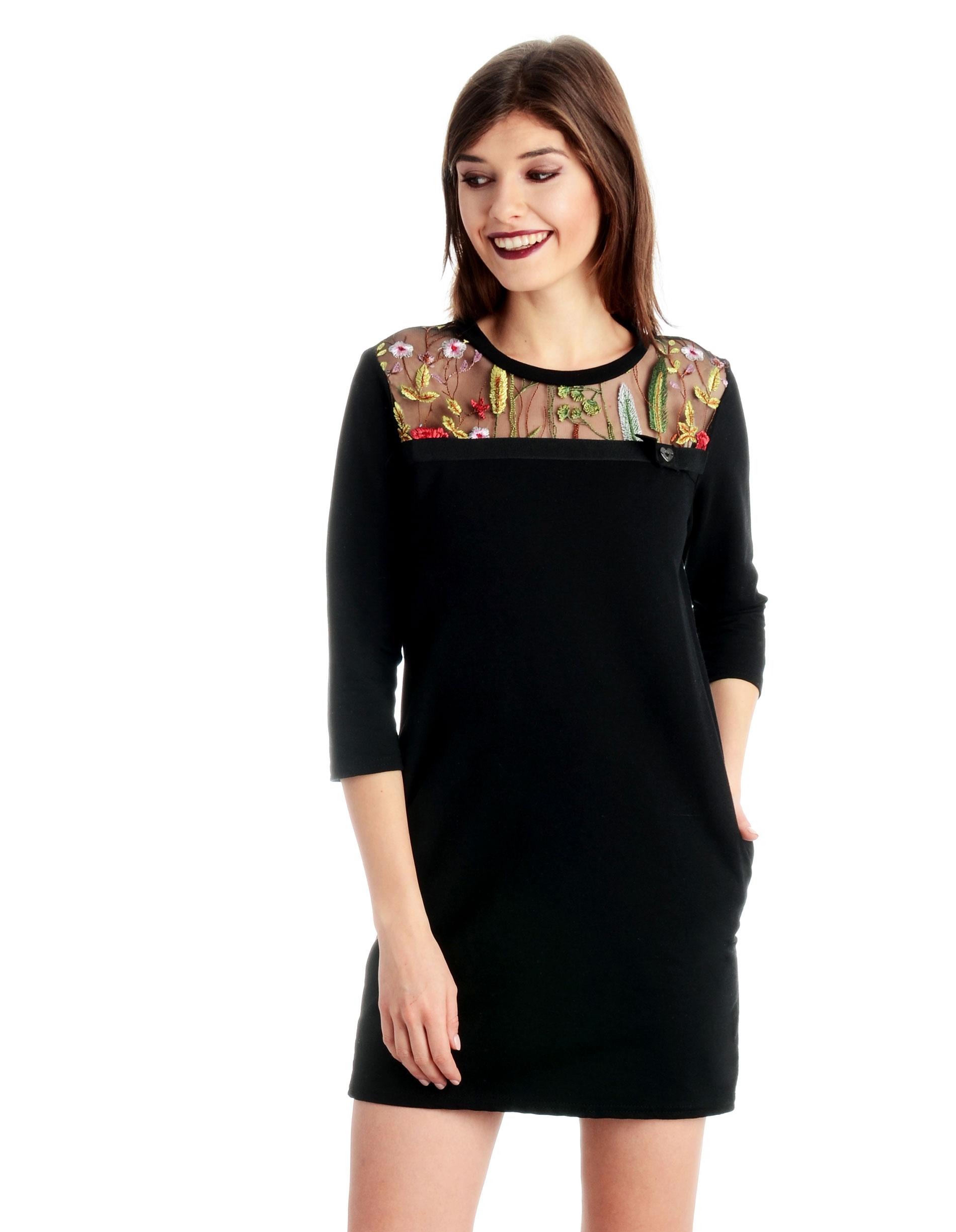 Sukienka - 90-7056 NERO - Unisono