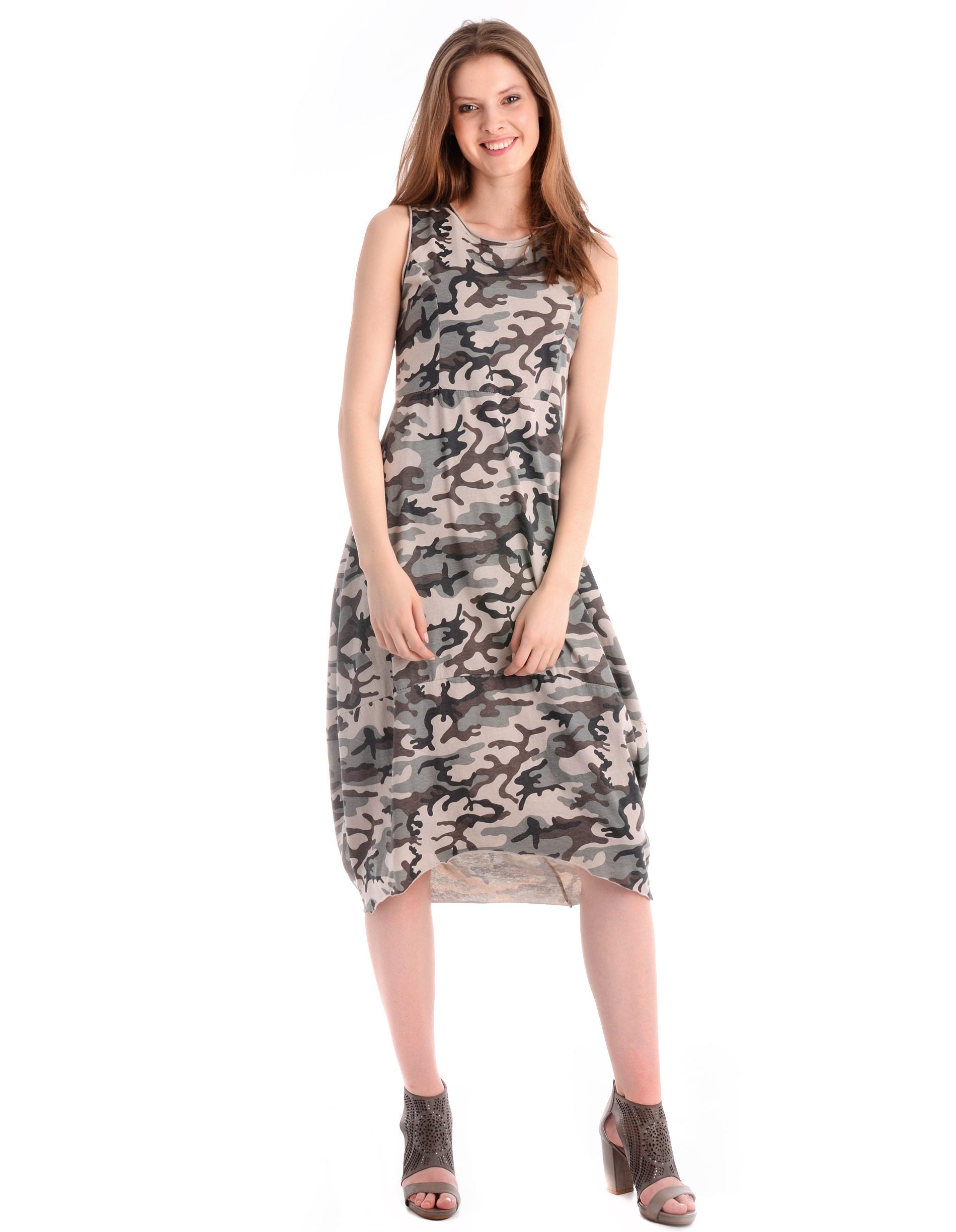 Sukienka - 18-6413M BEIG - Unisono
