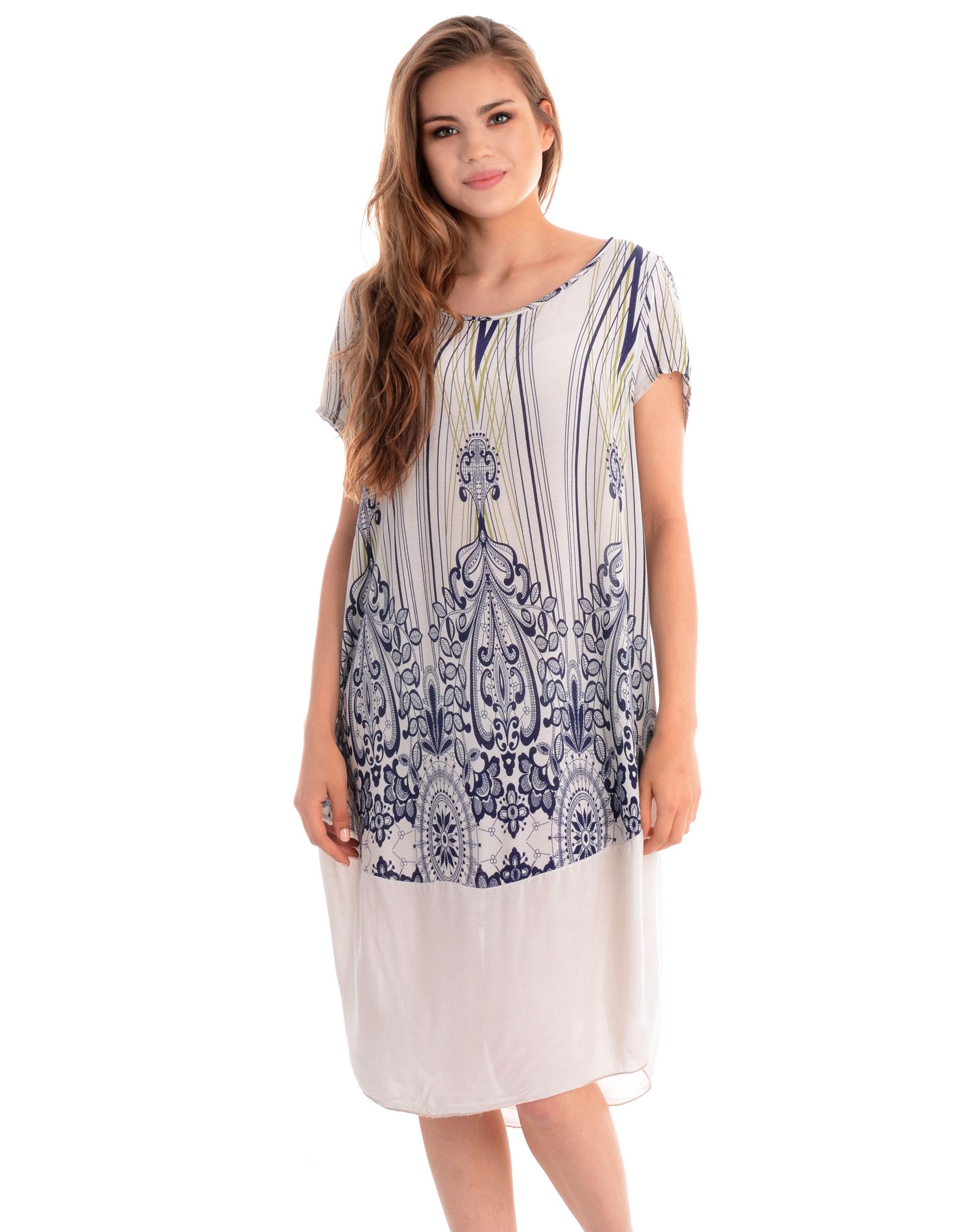 Sukienka - 130-9291A BEI - Unisono