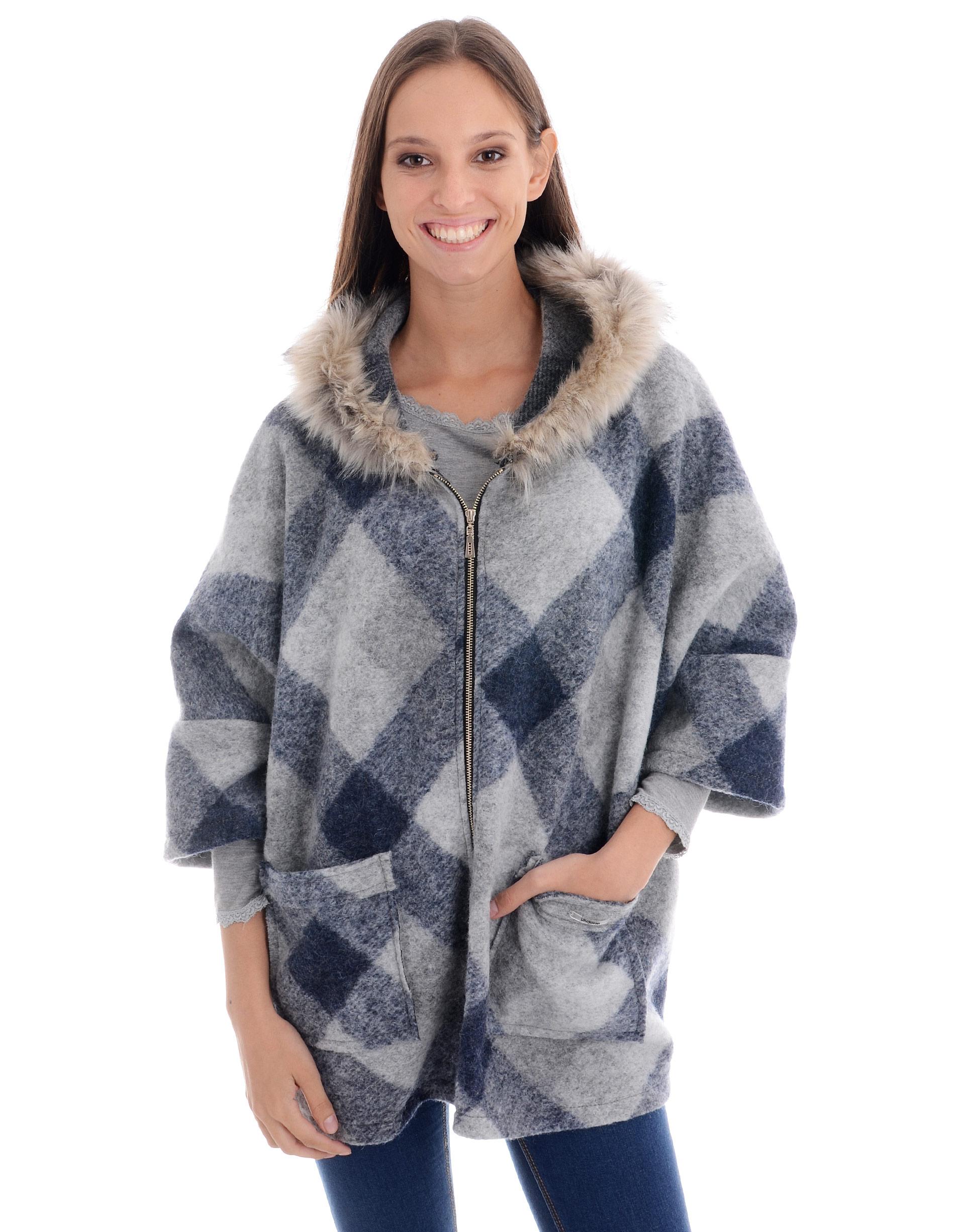 Płaszcz materiałowy - 34-3679 JEANS - Unisono