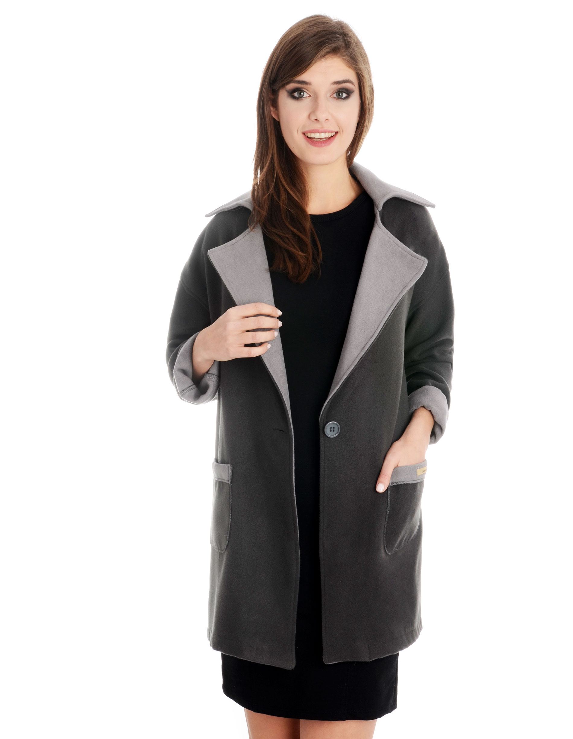 Płaszcz materiałowy - 1-5208 GRS-GC - Unisono