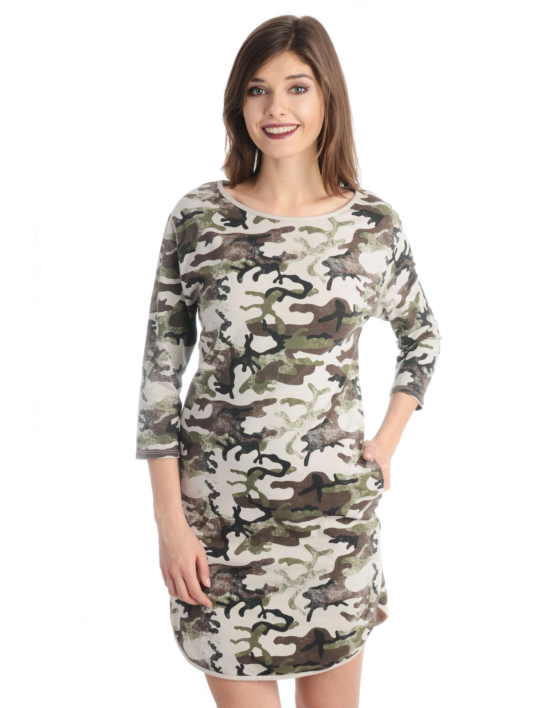 Sukienka - 18-6011M BEIG - Unisono