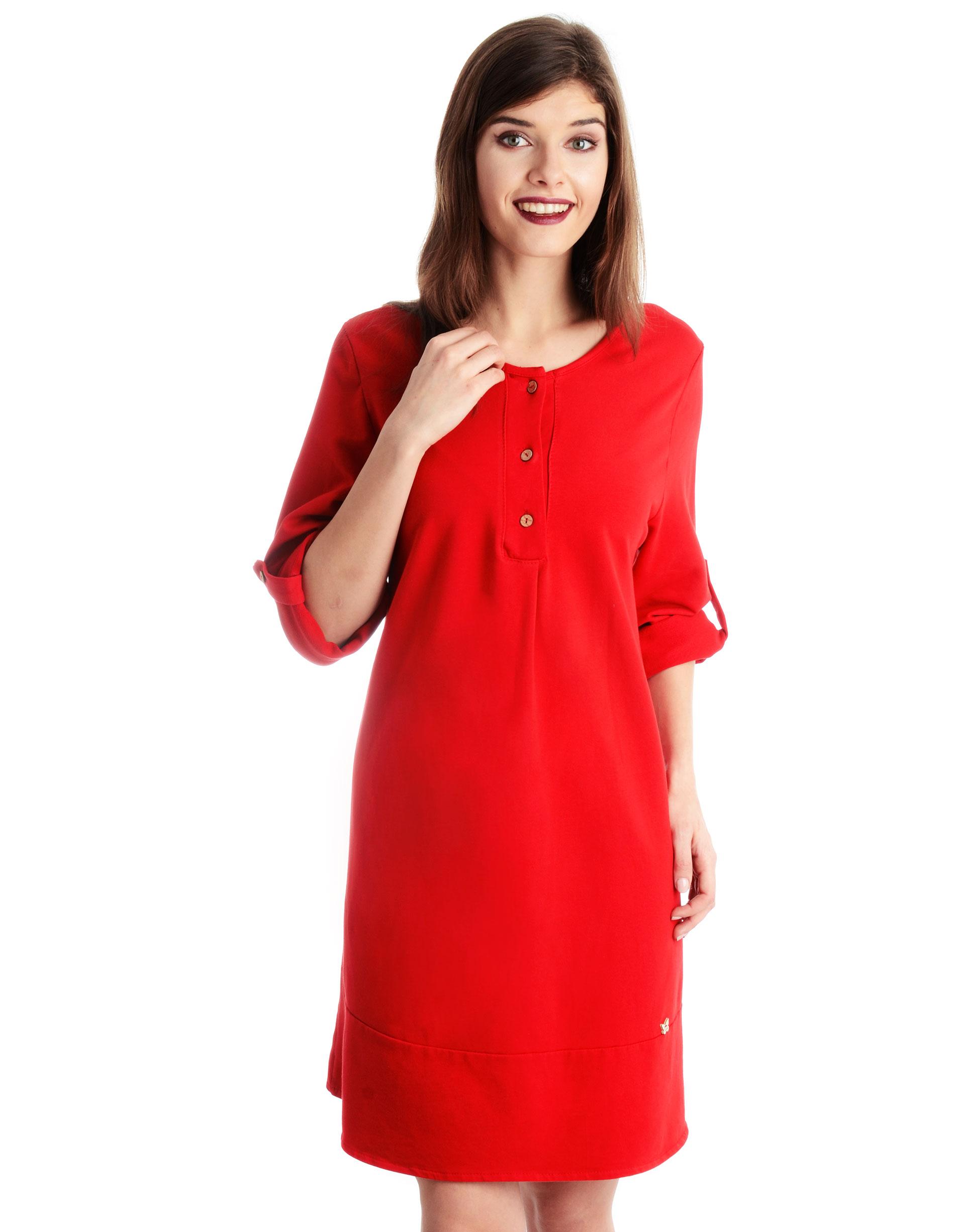 Sukienka - 16-3099 ROSSO - Unisono