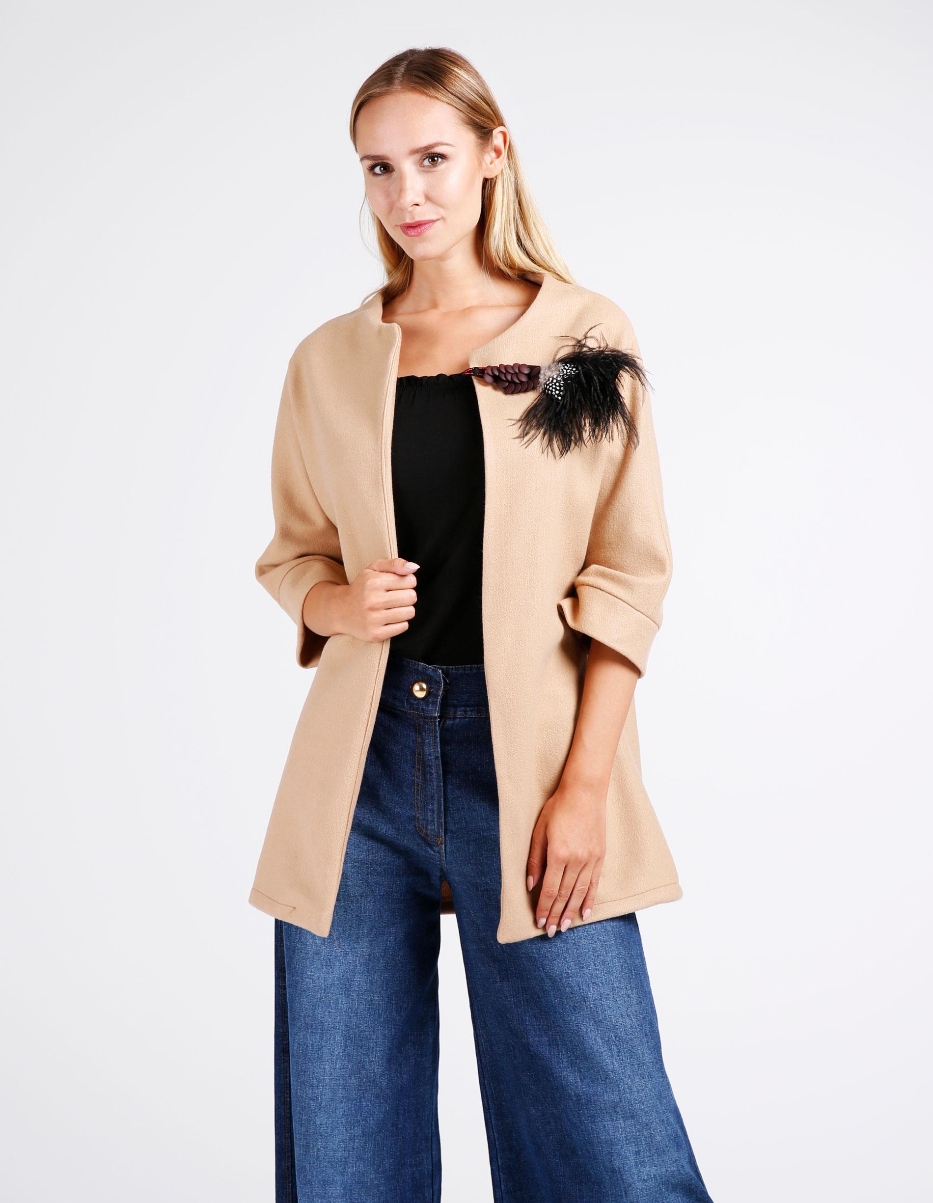 Płaszcz materiałowy - 65-6277 CAMEL - Unisono