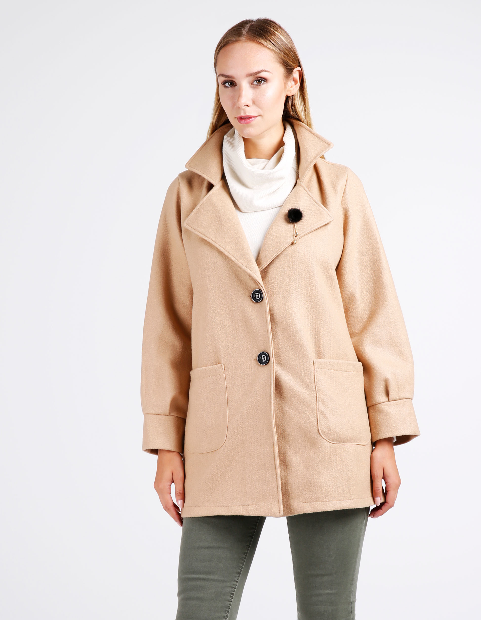 Płaszcz materiałowy - 65-6278 CAMEL - Unisono