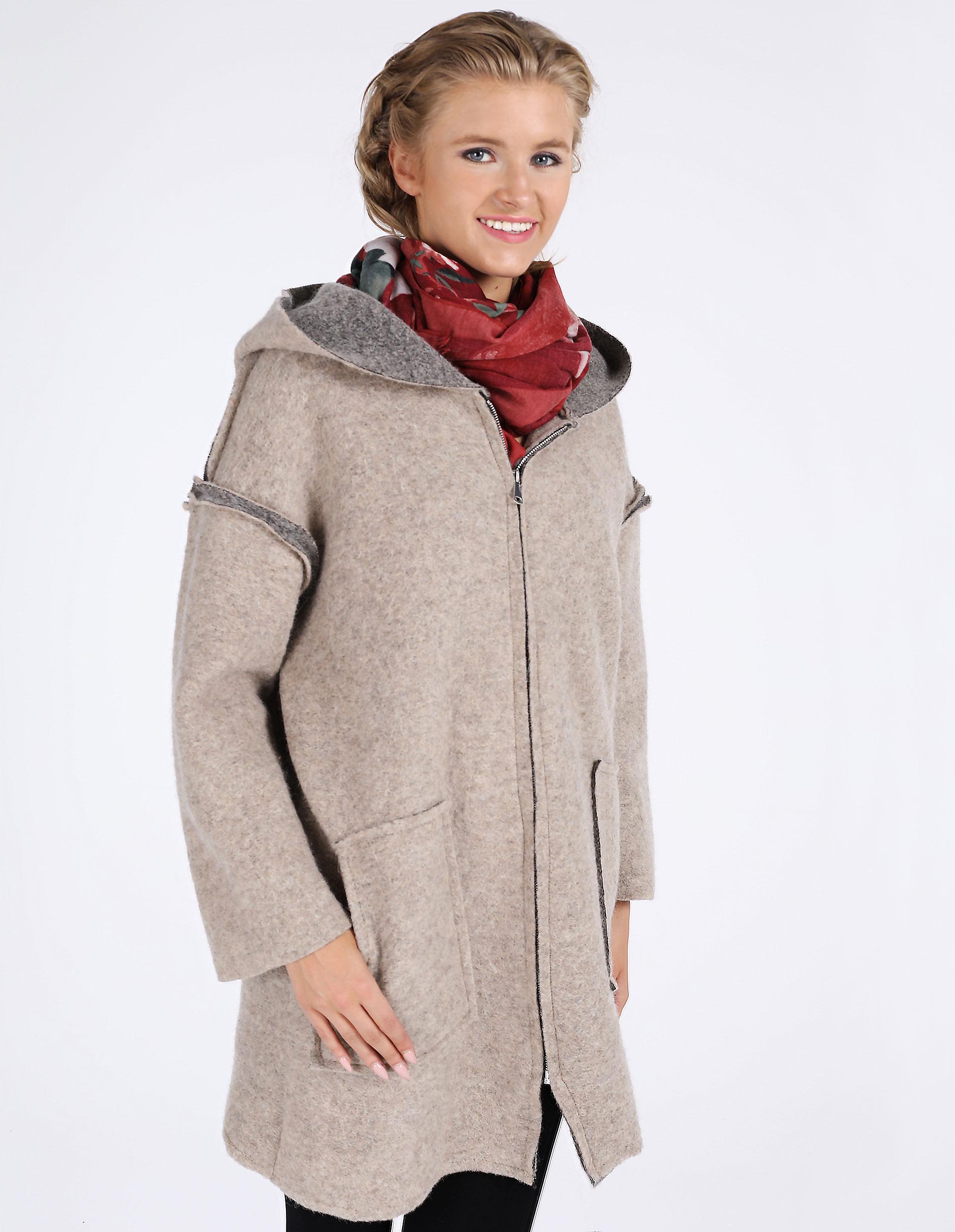 Płaszcz materiałowy - 18-1903 BEIGE - Unisono