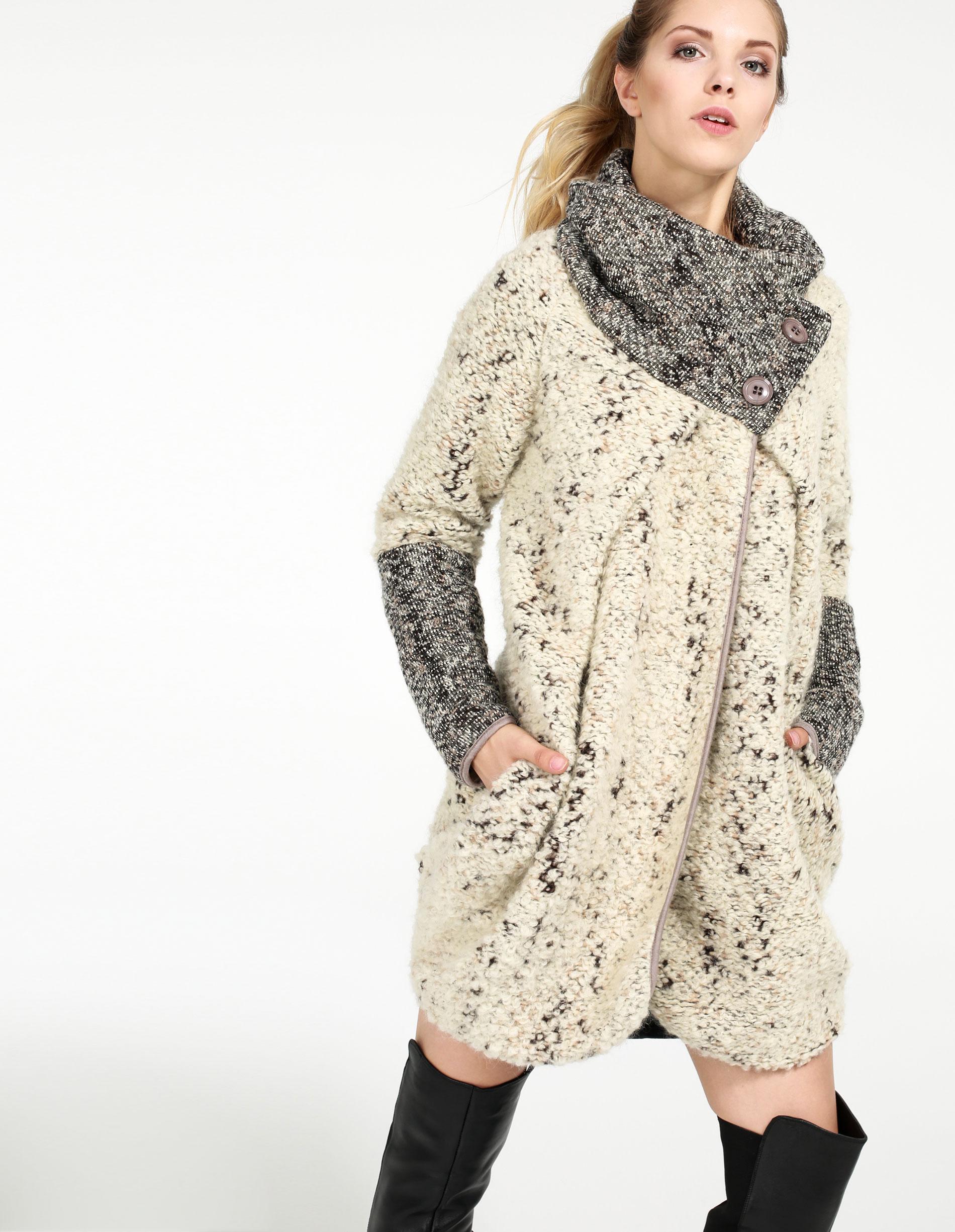 Płaszcz materiałowy - 129-3328A N-P - Unisono