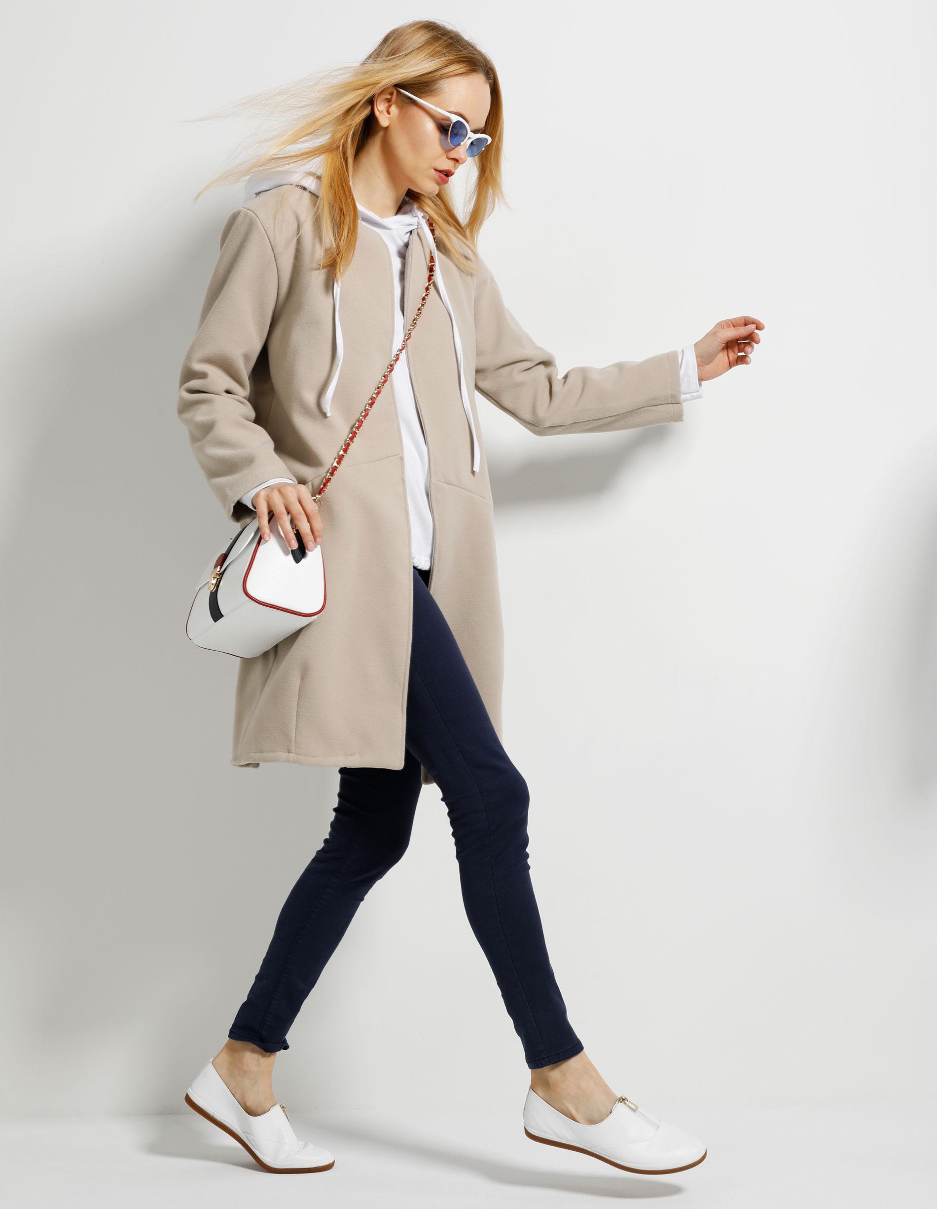 Płaszcz materiałowy - 65-6322 BEIGE - Unisono