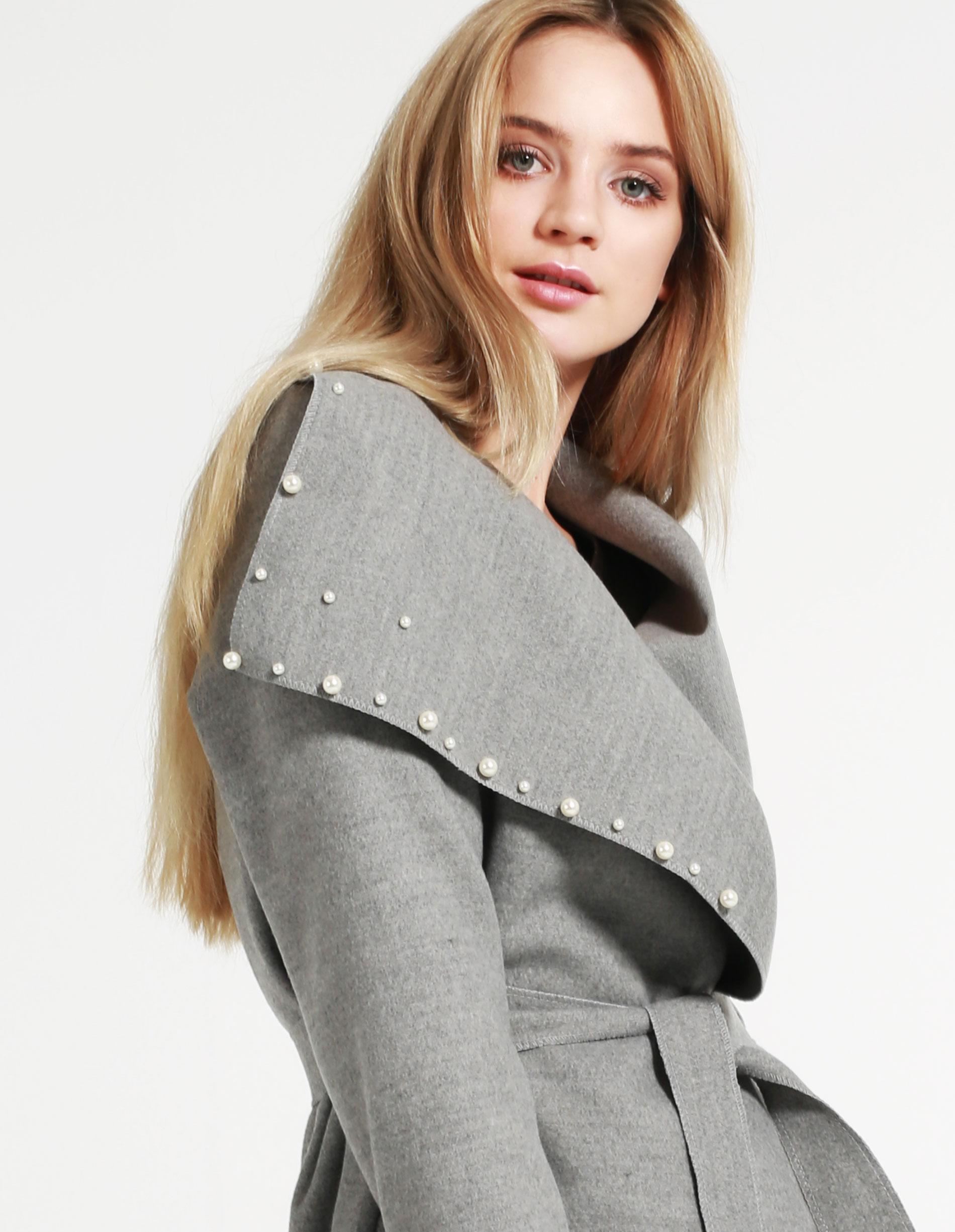 Płaszcz materiałowy - 65-5079LP PER - Unisono