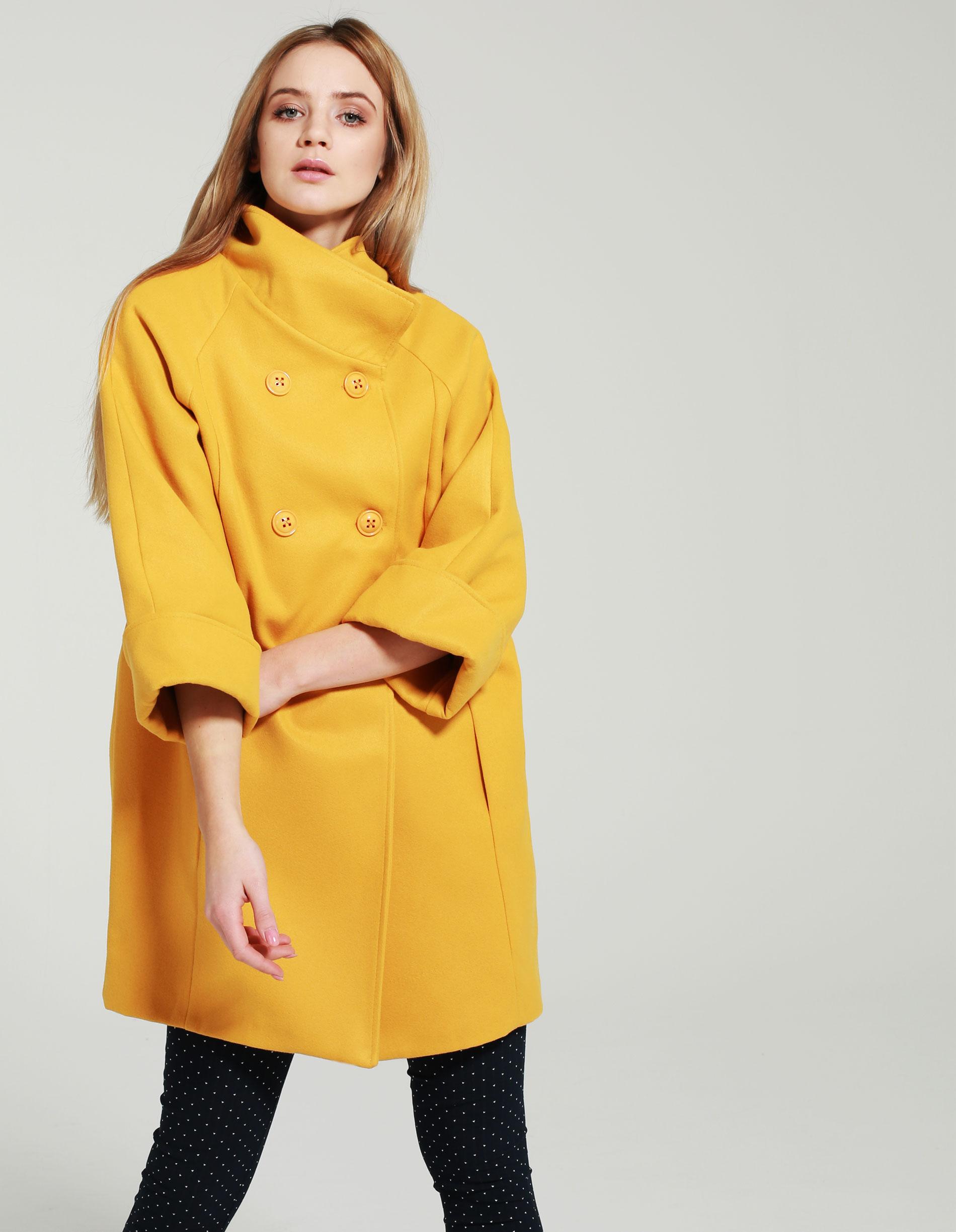 Płaszcz materiałowy - 65-GIALLO SEN - Unisono