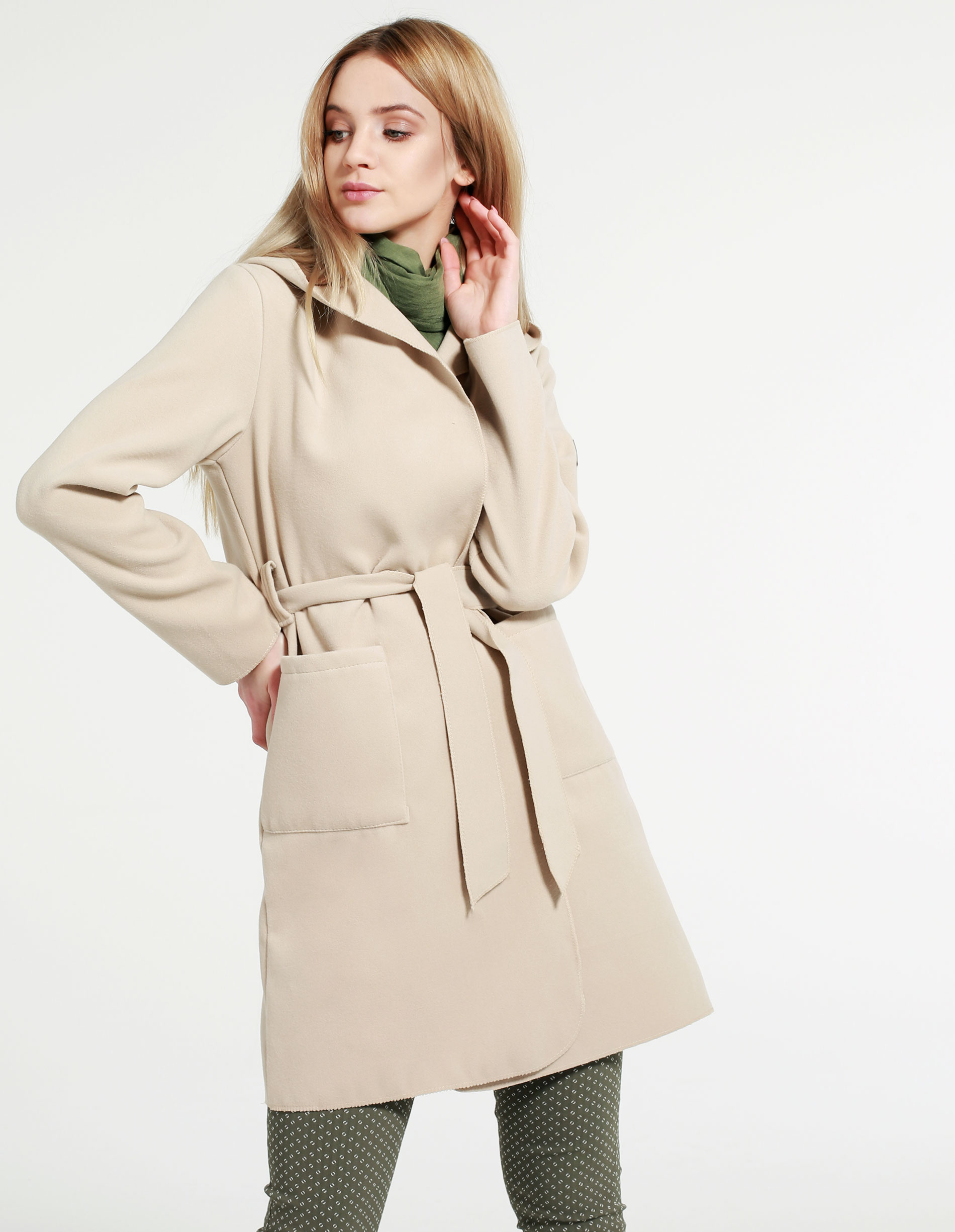 Płaszcz materiałowy - 71-22299 BEIG - Unisono