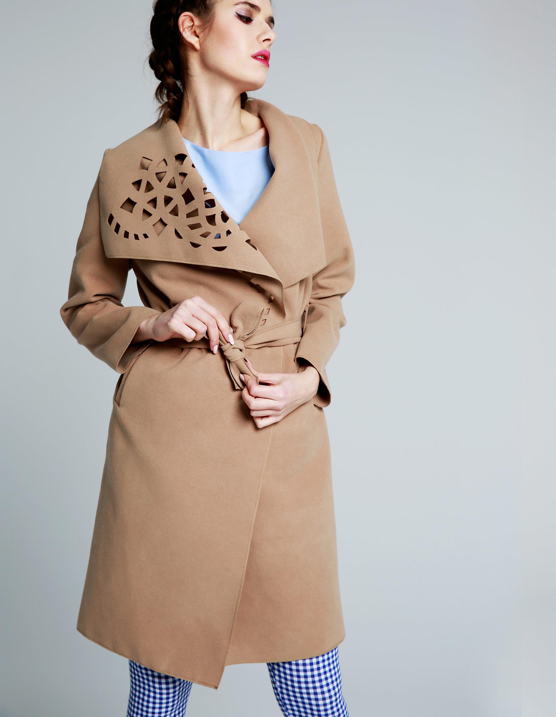 Płaszcz materiałowy - 65-5079LA BEI - Unisono