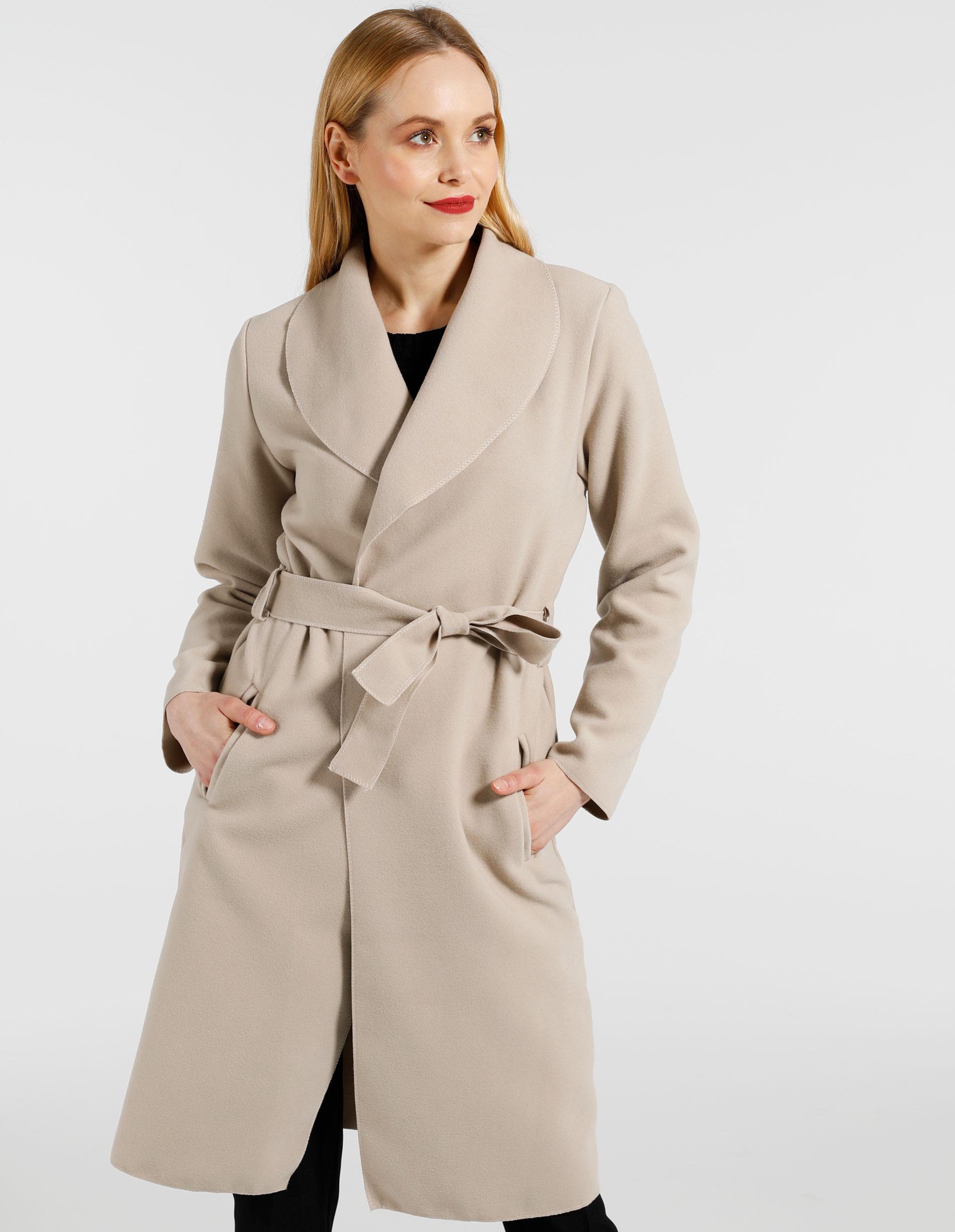 Płaszcz materiałowy - 65-6168A BEIG - Unisono