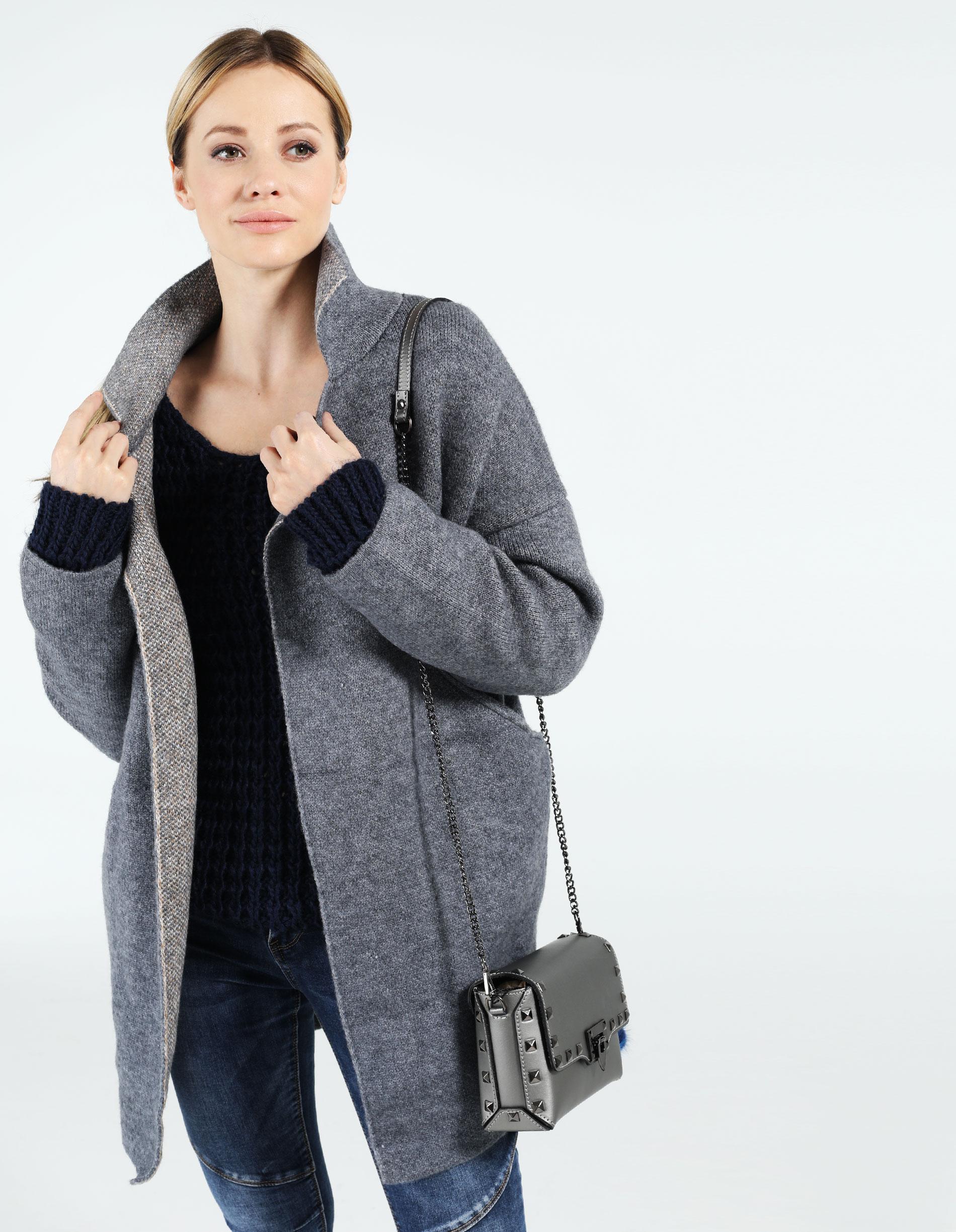 Płaszcz materiałowy - 159-10130 BLU - Unisono