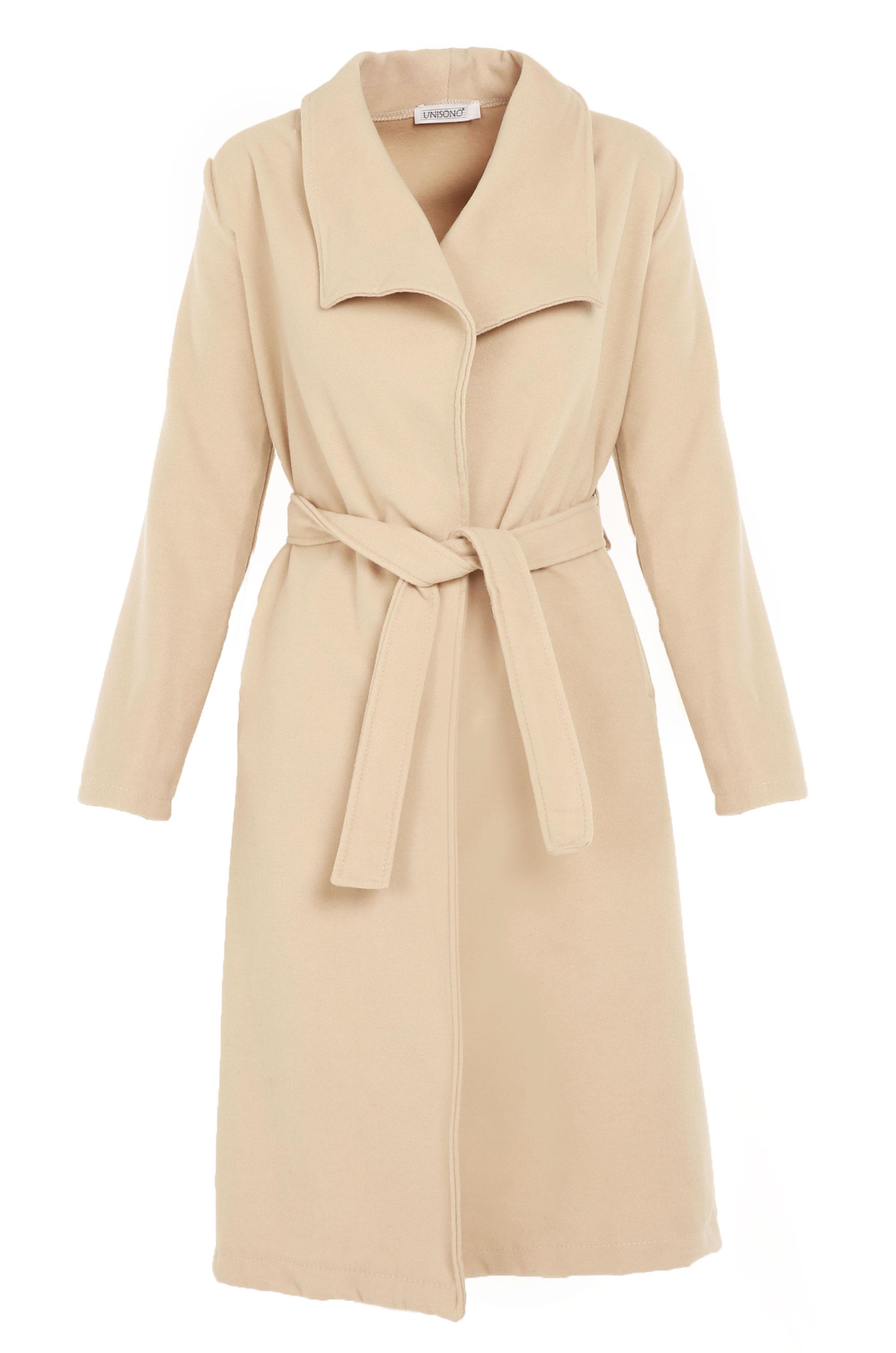 Płaszcz materiałowy - 65-6386L BEIG - Unisono