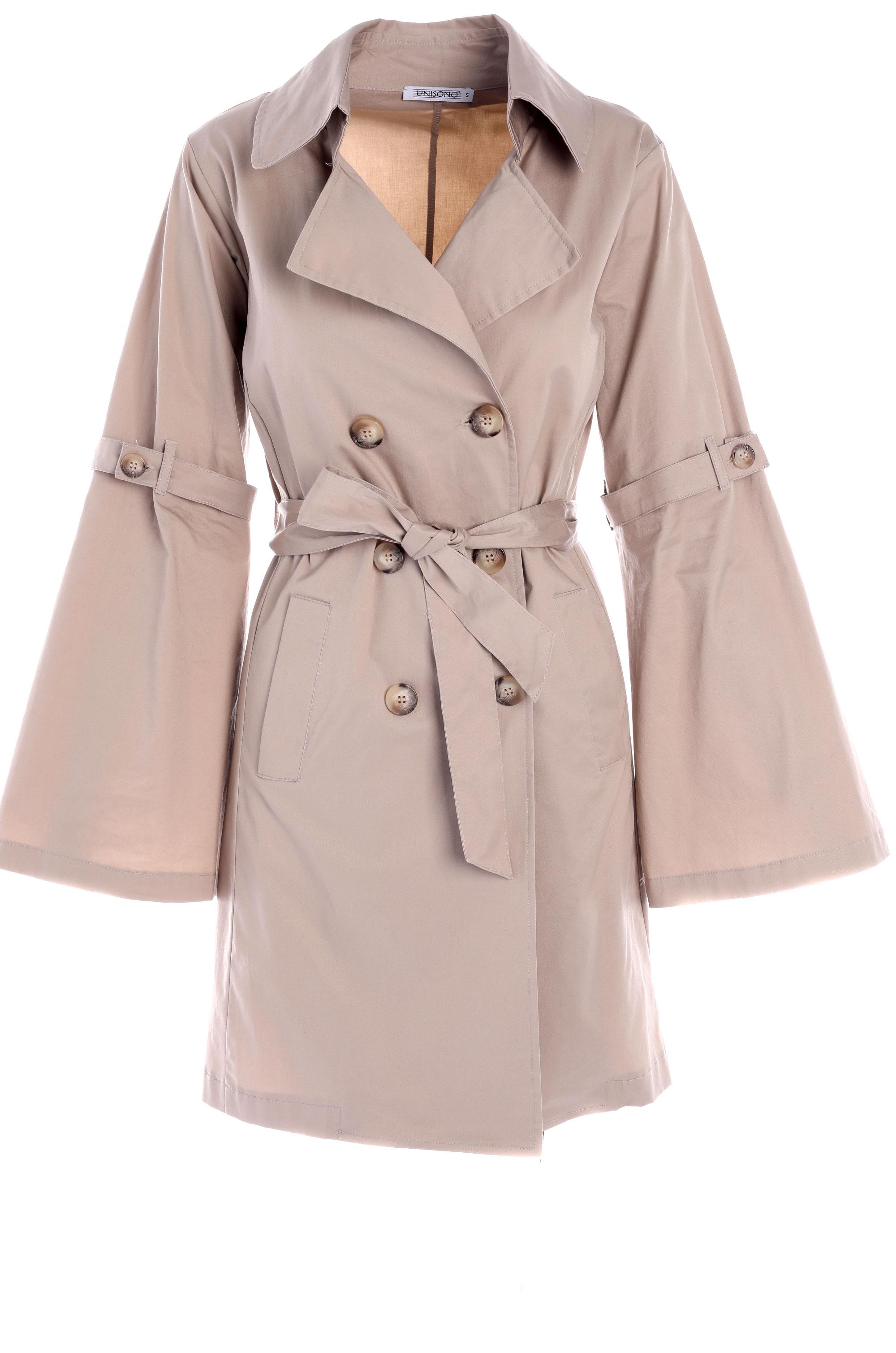 Płaszcz materiałowy - 152-GB715 BEI - Unisono
