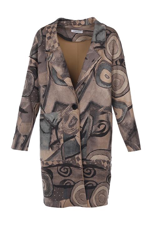 Płaszcz materiałowy - 88-251602 GRI - Unisono